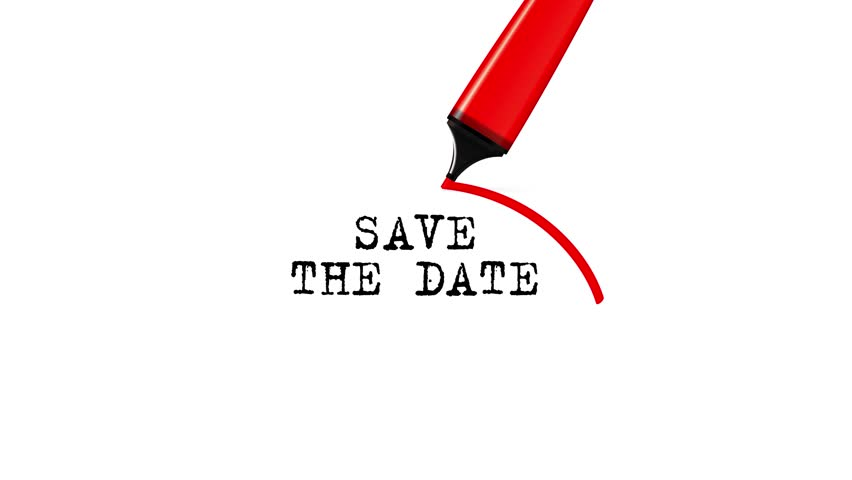 Save the date - red highlighter drawing squiggle around typed text