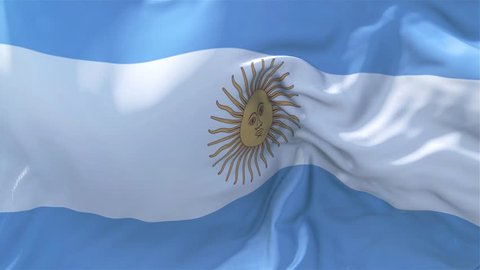 Argentina Flag in Slow Motion Classic Flag Smooth blowing in the wind on a windy day rising sun 4k Continuous seamless loop Background
