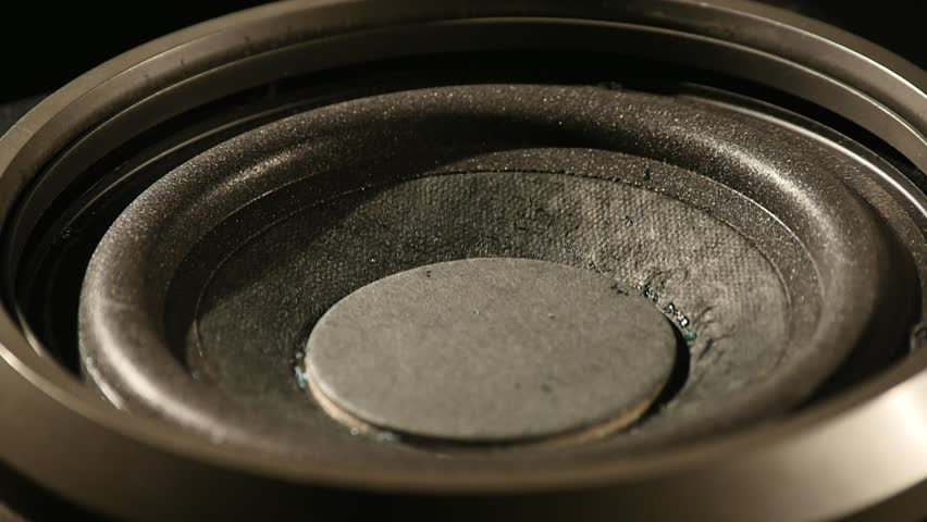 Closeup at moving sub-woofer. Speaker part | Shutterstock HD Video #1008821765