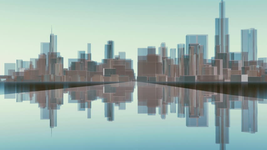 Motion by road to abstract Chicago city skyline with reflections on mirror surface and modern block shape highrise buildings in downtown. Futuristic minimalism 3D animation rendered in 4K
