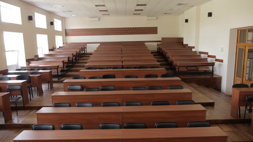 Empty lecture hall with upholstered chairs wooden furniture on several levels in University, College, School    Shutterstock HD Video #1008841115