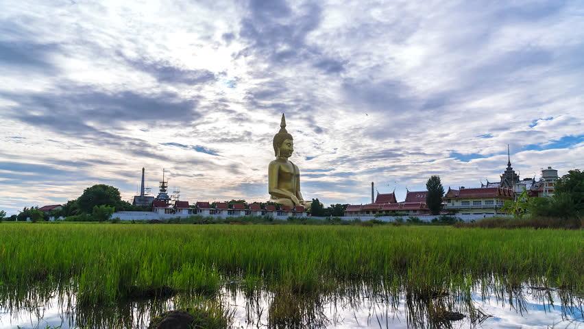 4K. Time lapse buddha at Wat Muang, Ang Thong Province, Thailand
