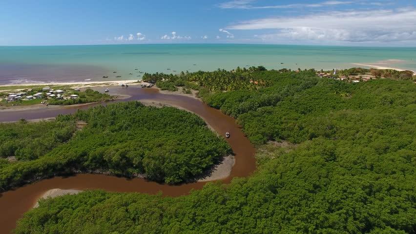 Aerial view of mangrove vegetation and Corumbau River - Corumbau Beach, Prado, south coast of Bahia, Brazil