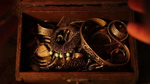 Finding a treasure chest full of gold.