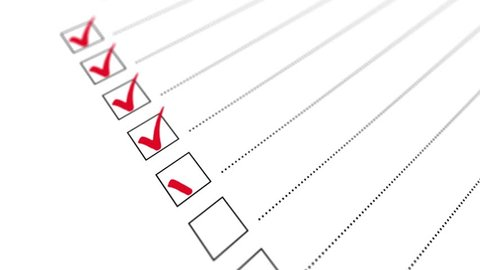 Check all the boxes of checklist. Checking a to do list. Animation.