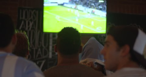 Sports fans watching football match on TV in sports bar, rear view