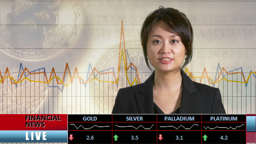 News anchor presenting financial news from TV studio, bitcoin background | Shutterstock HD Video #1008896105