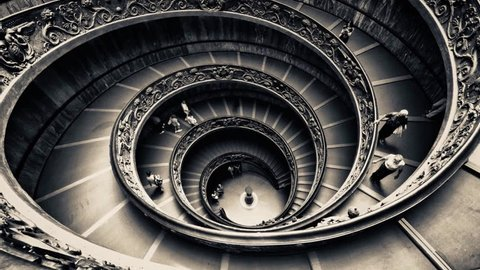 Spiral staircase at the Vatican moves like an escalator forwards then backwards as visitors are frozen in place in hypnotic cinemagraph plotagraph