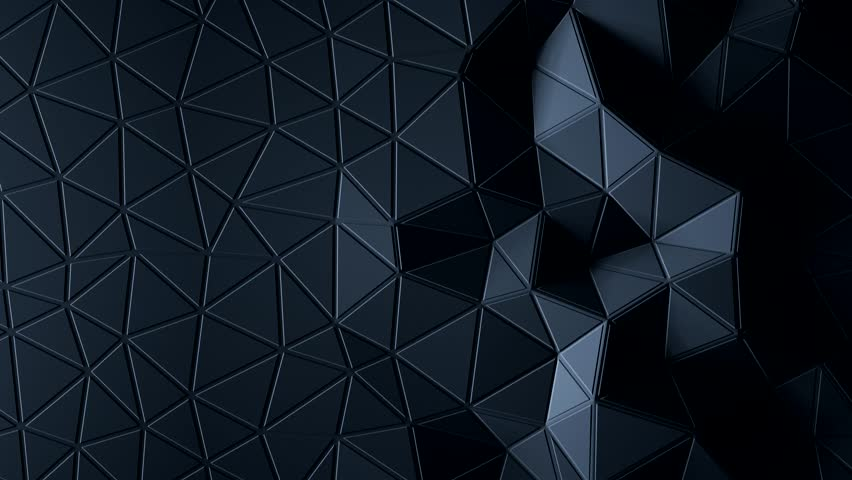 abstract triangular crystalline background animation. Black color 3d rendering 4K