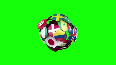 Flags of countries, participating in the 2018 World Cup gather in a rotating soccer ball. Green Screen.