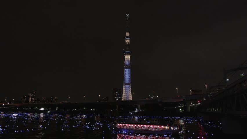 Tokyo LED Fireflies Festival on Sumidagawa River in Asakusa | Shutterstock HD Video #1009003055