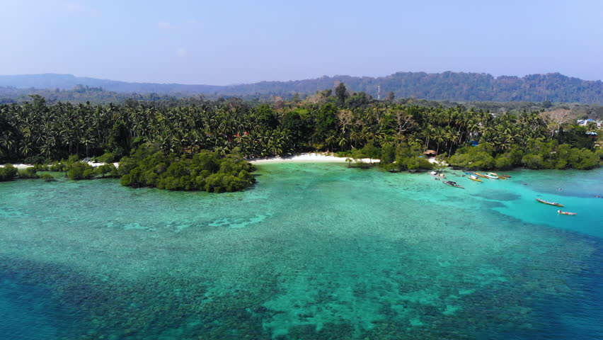 Aerial view of an amazing beach of havelock, Andaman and Nicobar Islands, India  | Shutterstock HD Video #1009009895