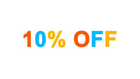 sale tag 10% OFF from letters of different colors appears behind small squares. Then disappears. Alpha channel Premultiplied - Matted with color white