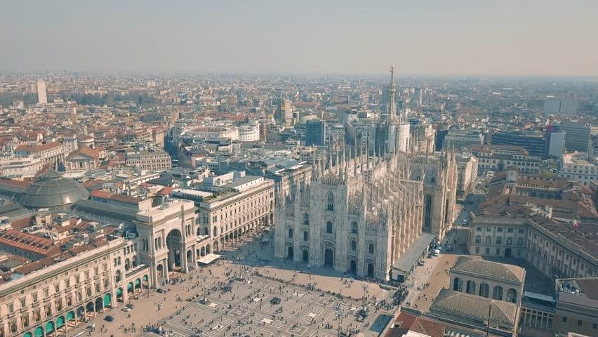 Aerial view of Duomo di Milano, Galleria Vittorio Emanuele II, Piazza del Duomo
