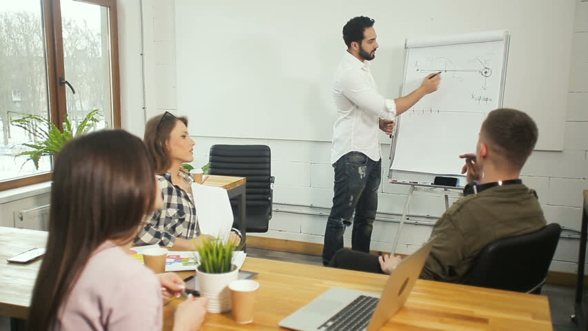 Tall good-looking man in white shirt and blue jeans drawing a piece of graph on the whiteboard, three other members of the team watching him carefully and giving feedback | Shutterstock HD Video #1009035995