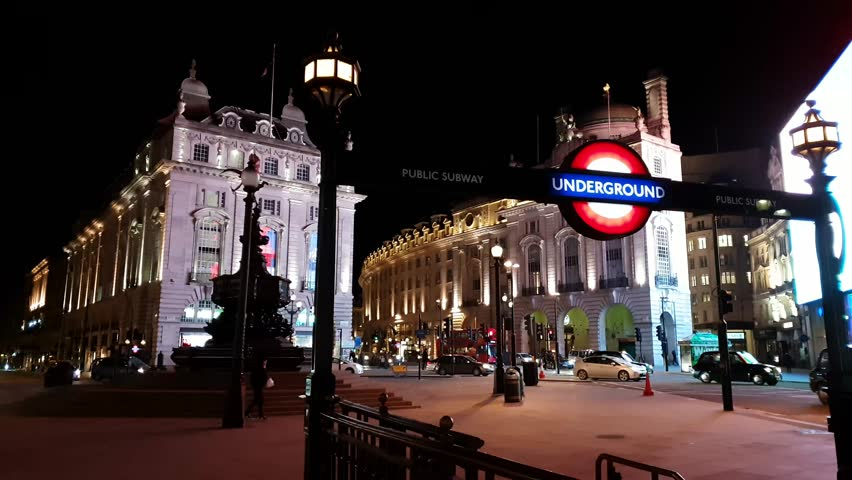 Underground station Piccadilly Circus by night - LONDON / ENGLAND - MARCH 18, 2018
