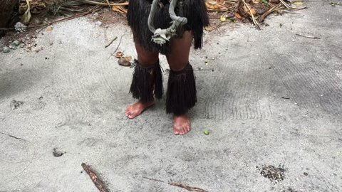 Cook Islander man explain how to climb a tree in Rarotonga Cook Islands