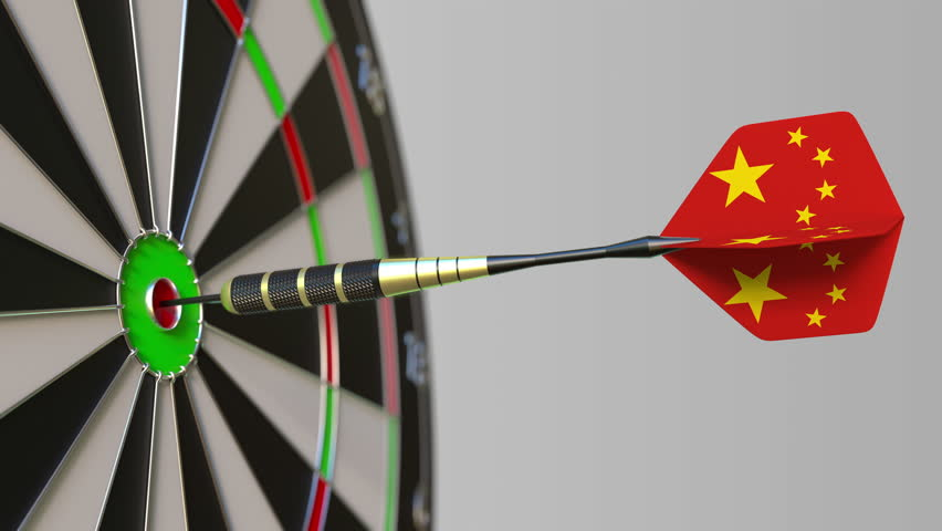 Dart featuring flag of China hits bullseye of the target. Sports or political success related conceptual animation