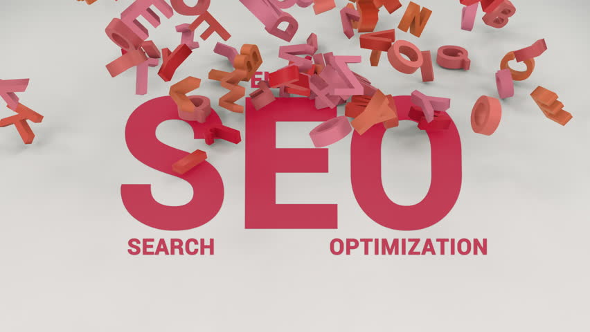 Red search engine optimization shortcut is covered by letters. Animation of falling down red letters on SEO word.