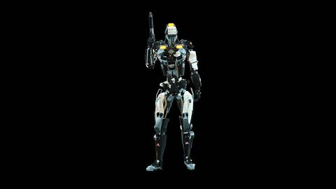 Police robot with gun, armed Cyber Mech with hand weapon rotating on black background with infographic data, 3D rendering loop