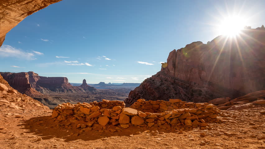 The False Kiva rock formation in Canyonlands National Park. Time Lapse