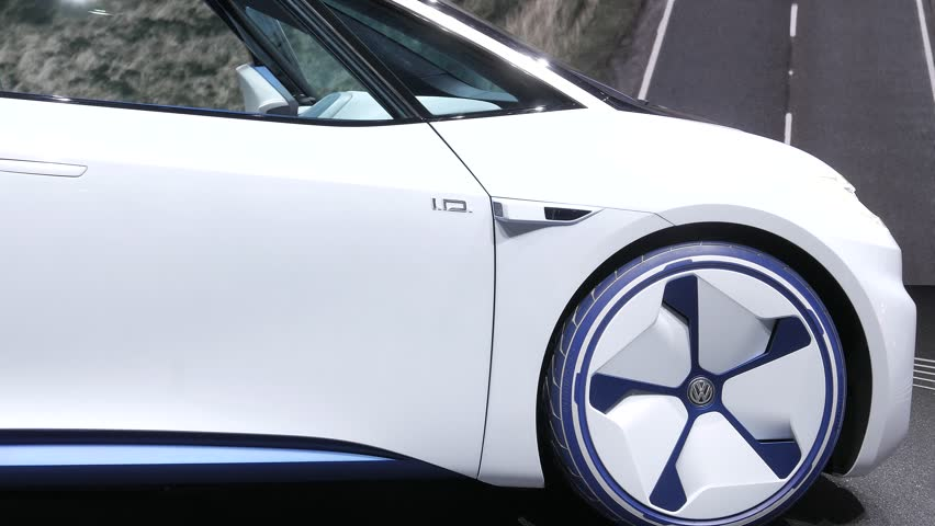 Geneva, Switzerland, March 06, 2018: metallic white Volkswagen VW I.D. Concept autonomous electric car ID at 88th Geneva International Motor Show GIMS