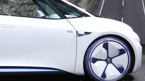 Geneva, Switzerland, March 06, 2018: metallic white Volkswagen VW I.D. Concept autonomous electric car ID at 88th Geneva International Motor Show GIMS