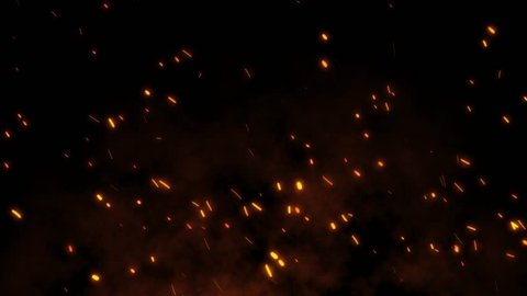 Burning red hot sparks rise from large fire in the night sky. Beautiful abstract background on the theme of fire, light and life. Fiery orange glowing flying away particles over black background in 4k