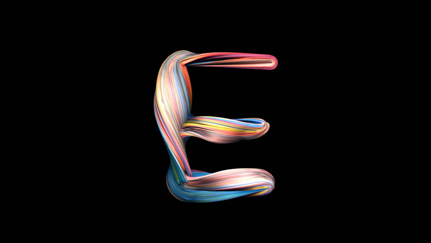 Letter E - Playdough alphabet 3D animation, with alpha channel for titles and intros.
