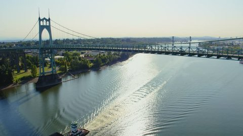 Aerial crane style shot starting at the St Johns Bridge