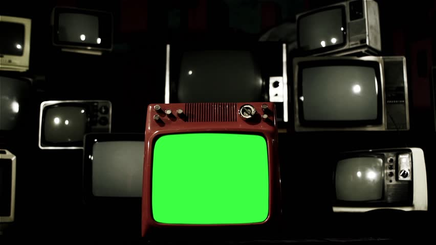 Vintage Tv Green Screen with Many 1980s Tvs. Dolly In Shot. Dark Tone. | Shutterstock HD Video #1009220405