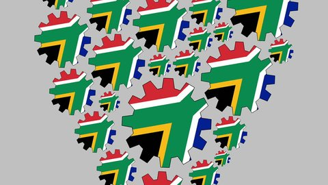 Gears with the south african flag shaping heart zooming out