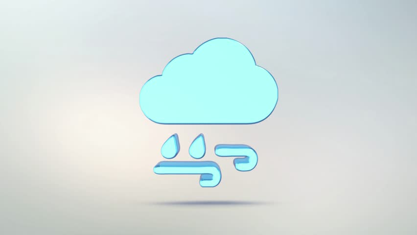 Weather Forecast Icon Cloud Of Transparent Glass Rotating Symbol
