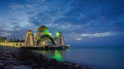 Malacca Straits Mosque 4k Timelapse (Masjid Selat Melaka), Malacca, Malaysia . Pan Effect