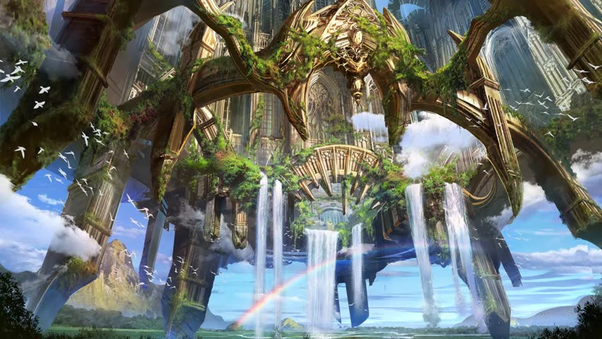animation of digital matte painting illustration of high fantasy flying castle environment building architecture