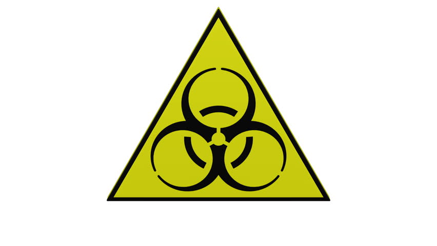 Biohazard sign turn around. Loopable. Luma matte. 3D rendering.