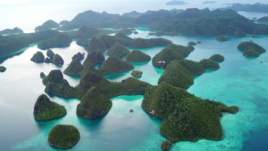Gorgeous limestone islands are found in an idyllic, tropical lagoon in Wayag, Raja Ampat, Indonesia. This unique, equatorial region is best known for its vast array of marine biodiversity.   Shutterstock HD Video #1009280285