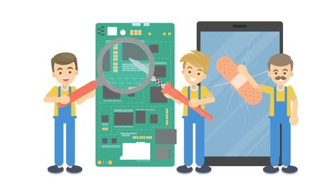 Cartoon smartphone repair. Men in uniform with magnifying glass and band aid repairing phone parts on white background. Flat animation.