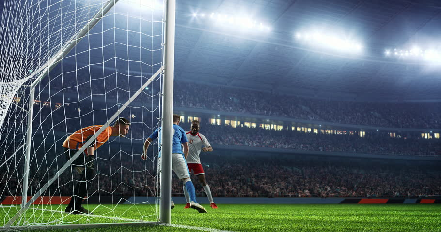 Soccer game moment on a professional soccer stadium. Stadium and crowd is made in 3D and animated