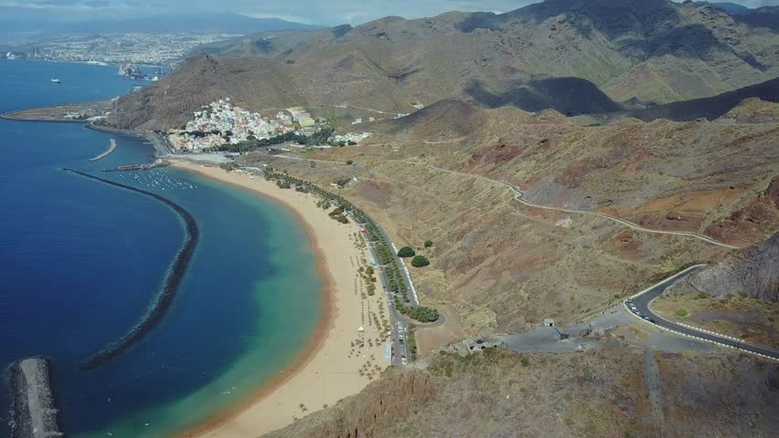 Aerial view of the Teresitas beach or Playa de Las Teresitas, a famous beach near Santa Cruz de Tenerife in the north of Tenerife, Canary Islands, Spain