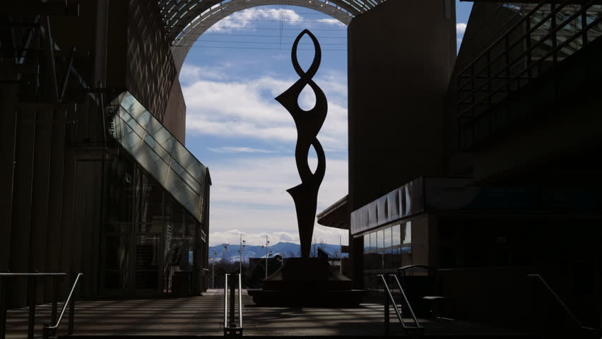 Denver, CO - March 20, 2018: Outdoor sculpture at the atrium of the Denver Performing Arts Complex.  The Sculpture Park at the complex contains this and many other pieces of contemporary public art.