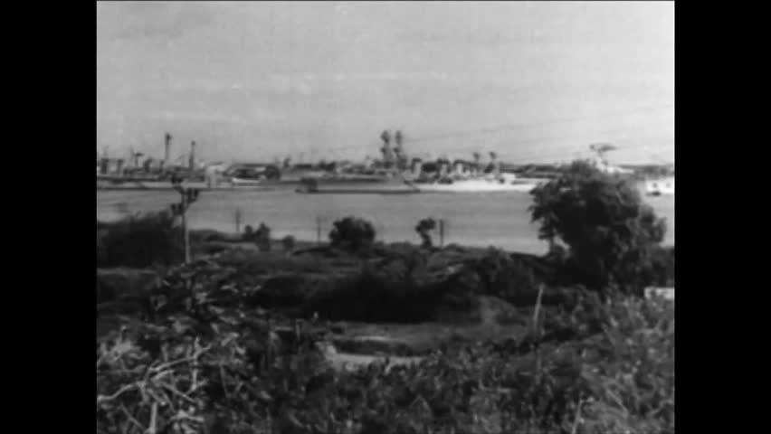 CIRCA 1940s - The bombing of Pearl Harbor during World War II.