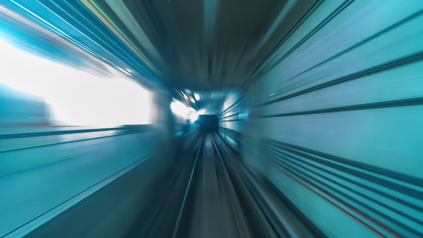 4K.Time lapse Subway tunnel fast speed | Shutterstock HD Video #1009342565