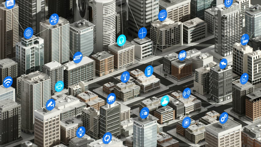 Internet of things icon on Smart city, Building concept. 4K size movie.