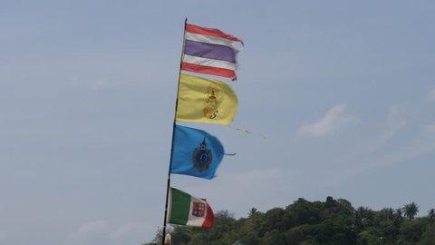 Thailand Flags, Rawai, Phuket, Thailand, 4K