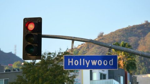 Hollywood boulevard street sign and traffic lights in 4k