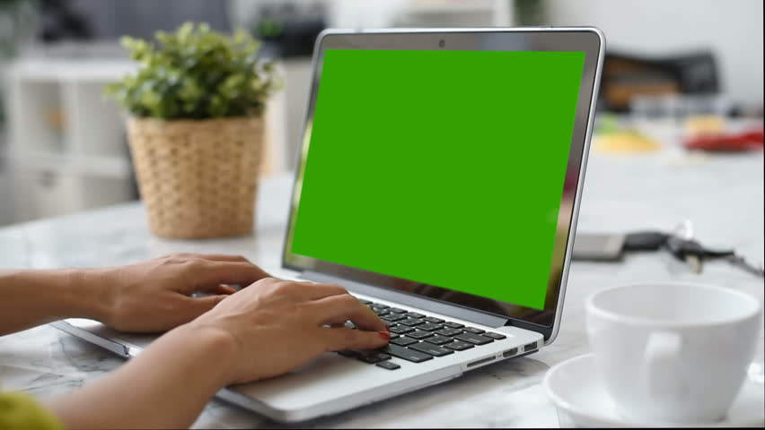 Woman hand using laptop with key green screen. Lady hand typing on a laptop computer. | Shutterstock HD Video #1009465175