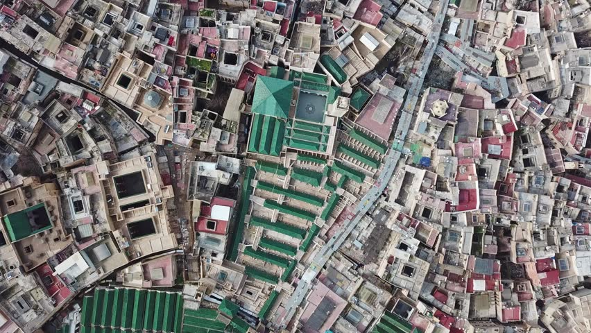 Aerial view on the tannery leather manufacturing in old Medina in Fes, Morocco (Fes El Bali Medina), 4k