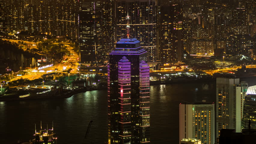 Time lapse view of skyscrapers at nighttime in Hong Kong, China, one of Asia's most important business and financial hubs.