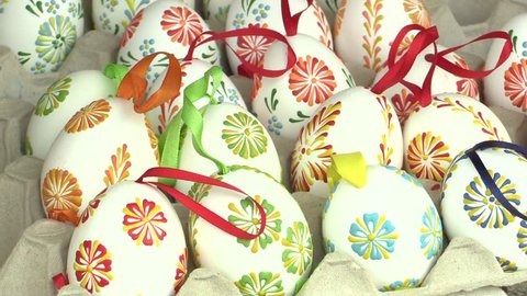 Easter painted and waxed eggs, traditional folk craftsmanship and cultural heritage in Hana in the city of Olomouc in the Easter Christian holiday and celebrations Paschal, Czech Europe